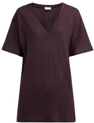 Raey V Neck Cotton Jersey T Shirt - Womens - Burgundy