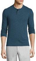 Theory Gaskell Coasting Long-Sleeve Henley Shirt, Blue
