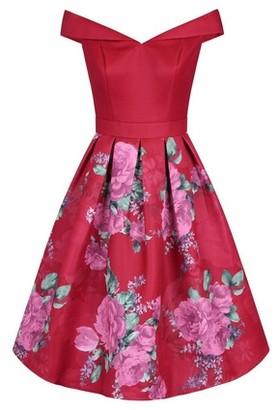 Dorothy Perkins Womens *Chi Chi London Red Floral Printed Bardot Midi Dress, Red