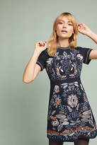 Anthropologie Petite Embroided Cap-Sleeve Dress