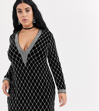 Asos DESIGN Curve long sleeve velvet embellished plunge mini dress