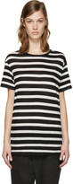 R 13 Black and Ecru Striped Boy T-shirt