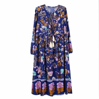 Top Vigor TOP-VIGOR Women's Casual Boho Dresses for Women Bohemian Long Sleeve Floral Print Retro Neck Tie Beach Style Long Midi Dress Royal Blue