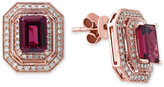 Effy Bordeaux by Rhodolite Garnet (2-1/2 ct. t.w.) and Diamond (3/8 ct. t.w.) Double Halo Stud Earrings in 14k Rose Gold