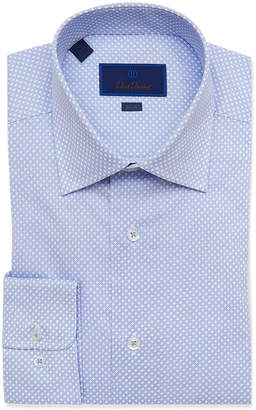 David Donahue Men's Slim-Fit Geo-Print Dress Shirt