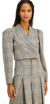INC International Concepts Inc Plaid Cropped Jacket, Created for Macy's