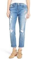 7 For All Mankind Josefina Embroidered Boyfriend Jeans (Denim Embroidery Botanical)