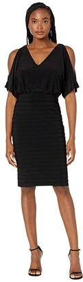 Adrianna Papell Pin Tuck Blouson Dress with Beaded Trim (Black) Women's Dress