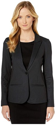 NYDJ Ponte Blazer (Fine Windowpane) Women's Clothing