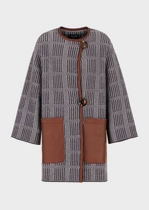 Giorgio Armani Checked Coat With Leather-Detailed Pockets