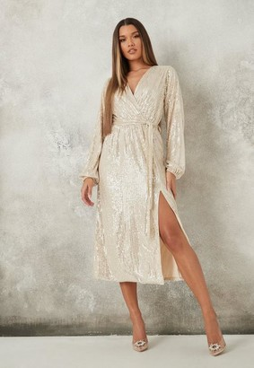 Missguided Champagne Sequin Wrap Midaxi Dress