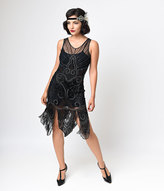 Unique Vintage Iconic by UV Black & Bronze Beaded Mesh Atlantic Fringe Flapper Dress