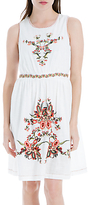 Max Studio Sleeveless Embroidered Dress, White