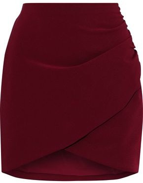 Alice + Olivia Fidela Wrap-effect Ruched Crepe Mini Skirt