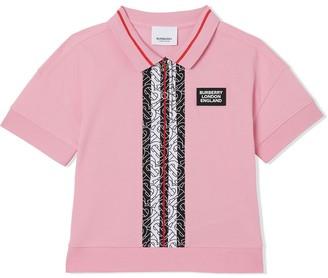 BURBERRY KIDS Monogram Stripe Pique Polo Shirt