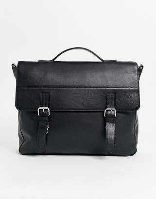 Asos Design DESIGN leather satchel in black with double straps