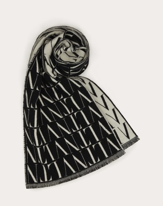 Valentino Uomo Vltn Times Scarf In Wool And Cashmere Man White/ Black Virgin Wool 92%, Cashmere 8% OneSize