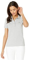 Lacoste Short Sleeve Slim Fit Strech Pique Polo (Silver Chine) Women's Clothing