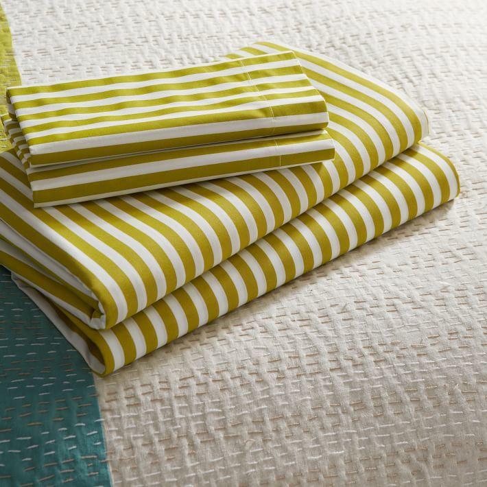 west elm Stripe Sheet Set - White / Celery Root