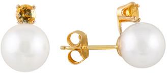 Splendid Pearls 14K 7-7.5Mm Akoya Pearl & Citrine Earrings