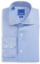 David Donahue Men's Trim Fit Herringbone Dress Shirt