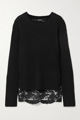 Ann Demeulemeester Ribbed Wool And Corded Lace Sweater - Black