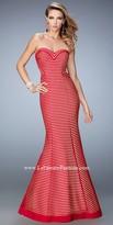 La Femme Aubrey Striped Sweetheart Prom Dress