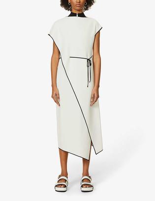 Theory Contrast-trim drape-panel crepe midi dress