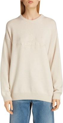 Balenciaga Oversize Logo Embroidered Cashmere Sweater