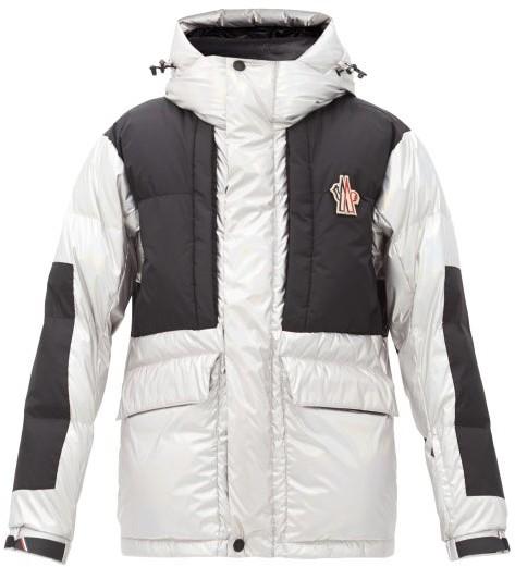 MONCLER GRENOBLE Breuil Metallic Hooded Down Ski Jacket - Silver