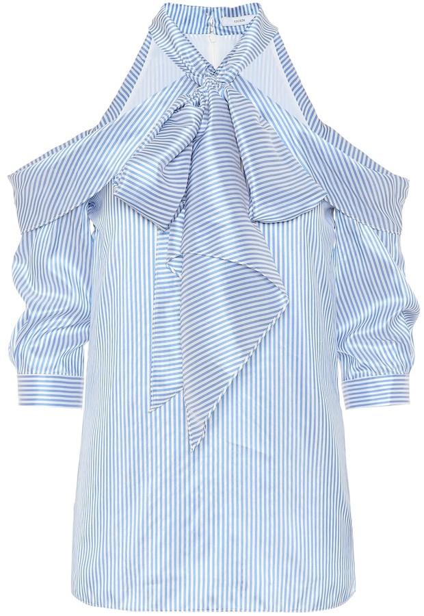 Erdem Striped silk top