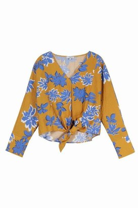 FRNCH Cacilia F 10455 Blouse Camel Blue flower - S/M
