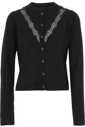 Elie Tahari Sylvie Lace-trimmed Bead-embellished Merino Wool Cardigan