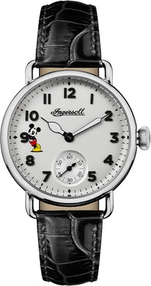 Ingersoll Disney Women's The Trenton Union Quartz Watch with White Dial and Black Leather Strap ID00101
