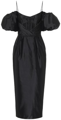 Rasario Off-shoulder silk-blend midi dress