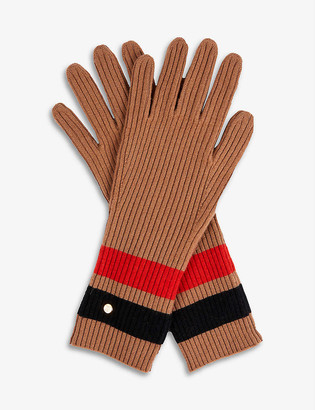 Burberry Graphic Stripe Wool And Cashmere-Blend Gloves