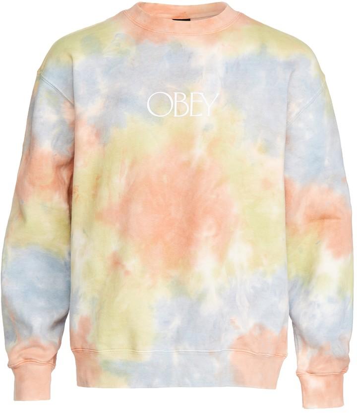 Obey Mens Premium Crew Fleece Tie Dye Sweatshirt