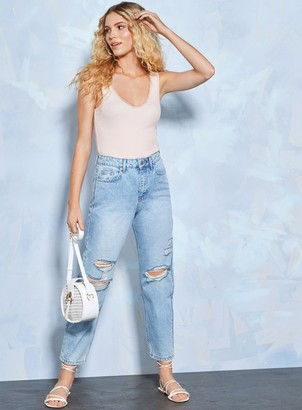 Miss Selfridge MOM High Waist Tapered Leg Blue Ripped Jeans