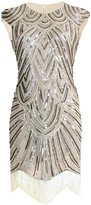 Vikoros 1920s Art Deco Great Gatsby Inspired Tassel Beaded Flapper Dress