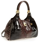 Brahmin 'Elisa' Croc Embossed Leather Shoulder Bag - Brown