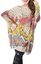 ELLAZHU Women Baggy Comic Print Knit Pullover Sweater SZ11