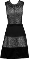 Raoul Skakira cutout paneled brocade, velvet and jersey mini dress