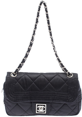 Chanel Black Satin Line Shoulder Bag