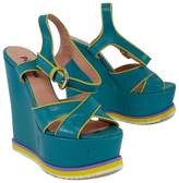 Studio Pollini Teal & Yellow Leather Platform Wedges