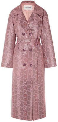 Stand Studio - Snake-effect Coated Vegan Leather Trench Coat - Pink