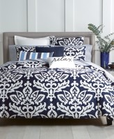 Charter Club Damask Designs Supima Cotton Navy 2-Pc. Twin Duvet Set