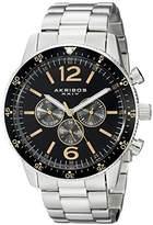 Akribos XXIV Men's AK768SSB Multifunction Quartz Movement Watch with Black Dial and Stainless Steel Bracelet