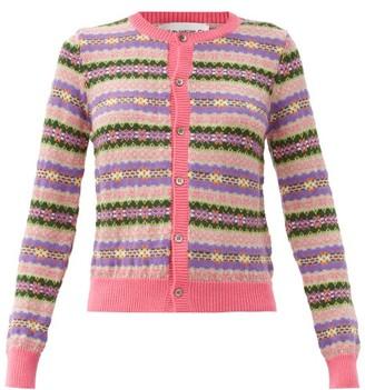 COMME DES GARÇONS GIRL Fair Isle-jacquard Wool Cardigan - Pink Multi