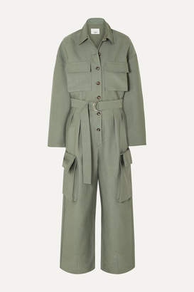 Frankie Shop - Linda Belted Brushed-twill Jumpsuit - Army green
