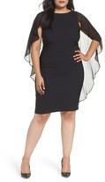 Sangria Plus Size Women's Capelet Sheath Dress